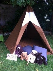 'There's a bear in there.' Our bears enjoyed time outside in our giant tepee tent. This tent is a 'beary' nice place to relax in summer!